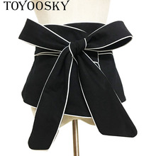 2018 New Autumn Luxury Black White Hit Color Long Bow Bandage Exceed Width Belt Women Fashion Tide All-match TOYOOSKY
