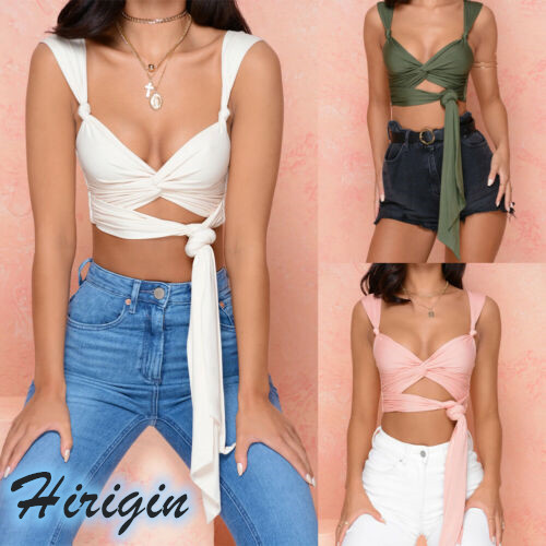 Vest Tank-Tops Bustier Bandage-Crop Criss Sexy HALTER Summer Women Solid New Cut-Out