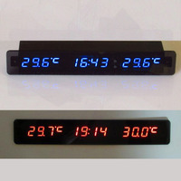 Voltmeter + Thermometer+ clock DC12v Car Monitor auto Digital LED Voltage time temp Indoor/Outdoor Temperature Meter