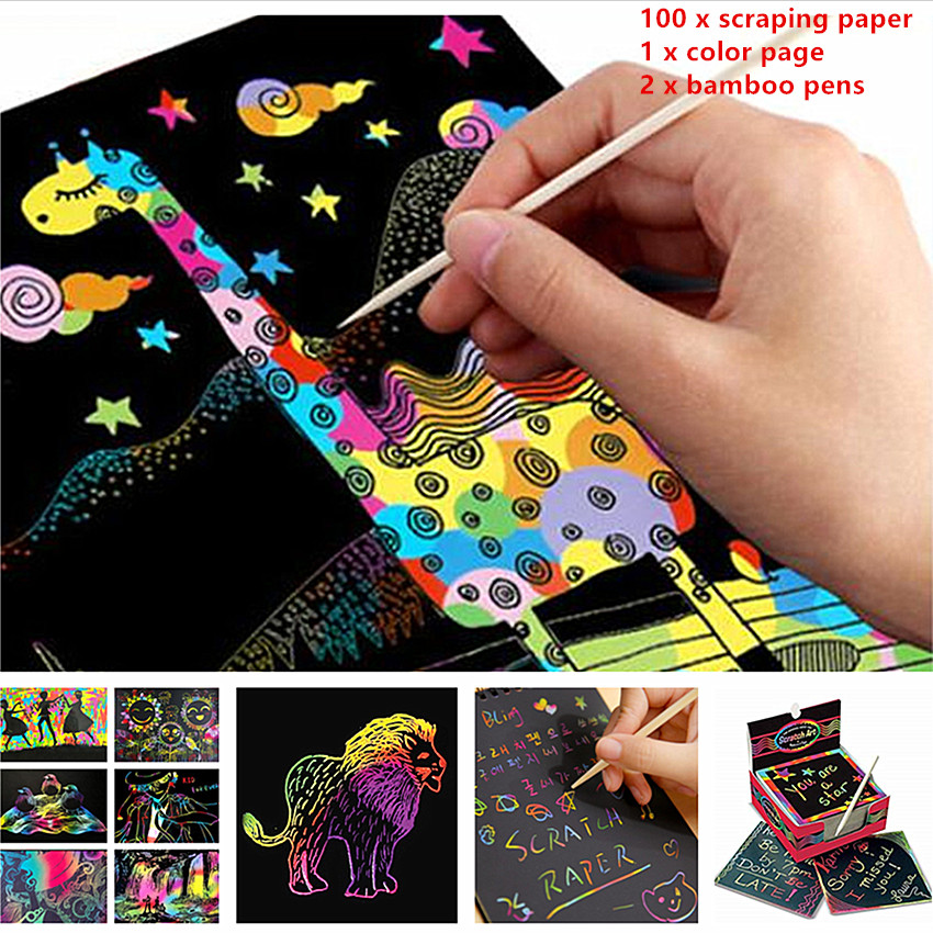 100Pcs Magic Color Rainbow Scratch Paper Black DIY Drawing Toys Scraping Painting Note Book Kid Doodle 85mm