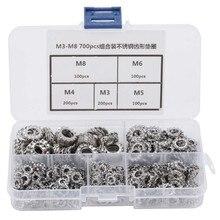 Assortiment de rondelles en acier inoxydable 700, M3-M8 pièces, boîte combinée 304, Kit de rondelles dentaires externes, assortiment de circlips