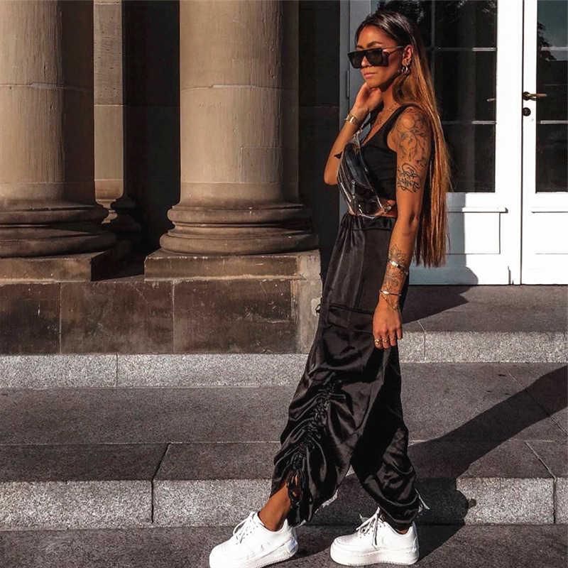 Высокая талия широкие брюки капри для женщин Мода Стильные брюки Harajuku уличная брюки Palazzo мешковатые расклешенные низ женский
