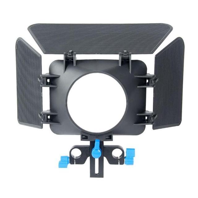 ABS di Alluminio 85 millimetri 3 Lame Della Macchina Fotografica Matte Box Lens Hood Seguire Messa A Fuoco Regolabile in Altezza Per 15 millimetri di Scorrimento DSLR macchina fotografica 200g
