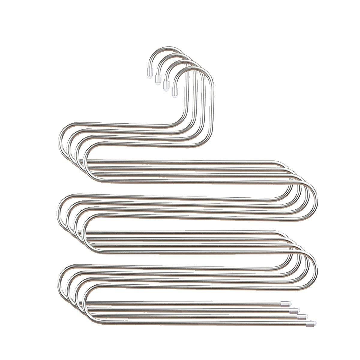 4 قطعة متعددة معلاق للسروال رف بنطلون الفولاذ المقاوم للصدأ S-نوع 5 طبقات الملابس حزام الشماعات الفضاء إنقاذ التخزين ل خزانة الجهاز