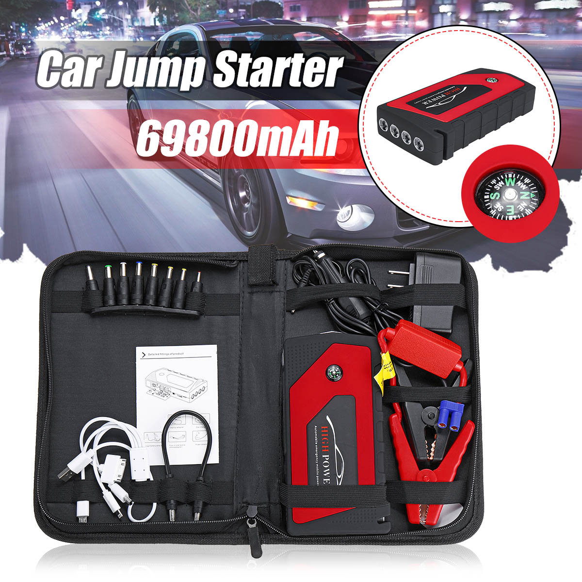 Autoleade 69800 mAh 12 V Démarreur Voiture De Saut Démarrage D'urgence Dispositif 4USB lumière led Mobile batterie externe chargeur de voiture amplificateur de batterie