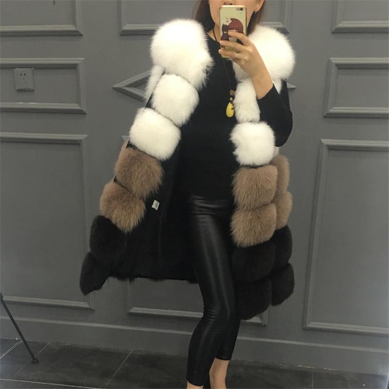 2019 Hot New Faux Fur Vest Coat Winter Sleeveless Jacket Women Fake Fox Fur Patchwork Color Thick Outwear Female Faux Fur Vest