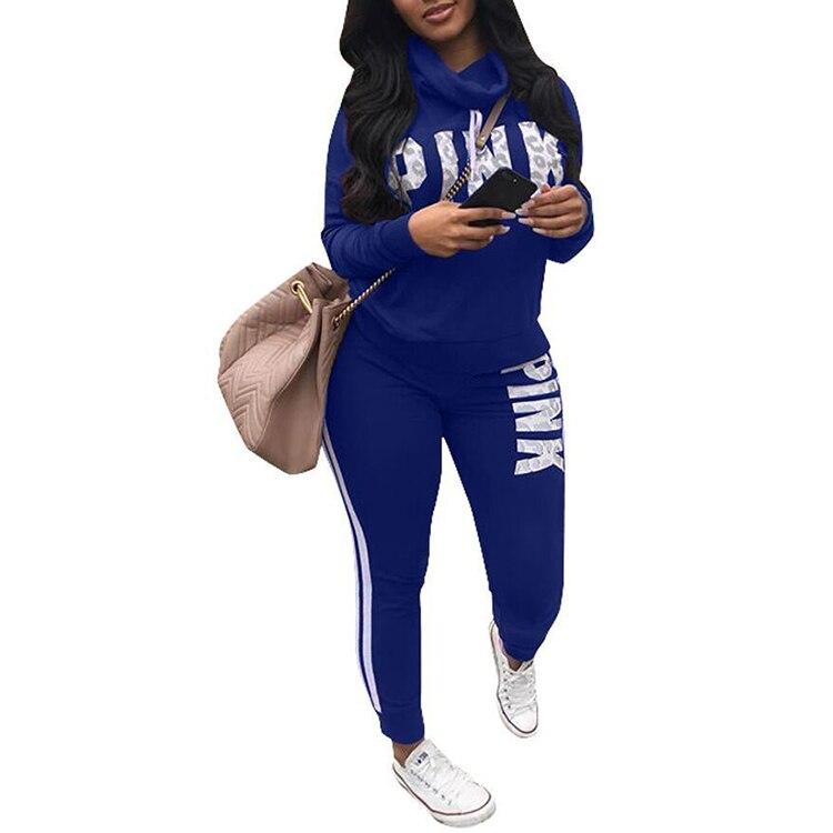 New 2019 Two Piece Set Sportswear Tracksuit Women Autumn Winter High Neck Conjunto Feminino Plus Size Sweatshirt Set Women Suit