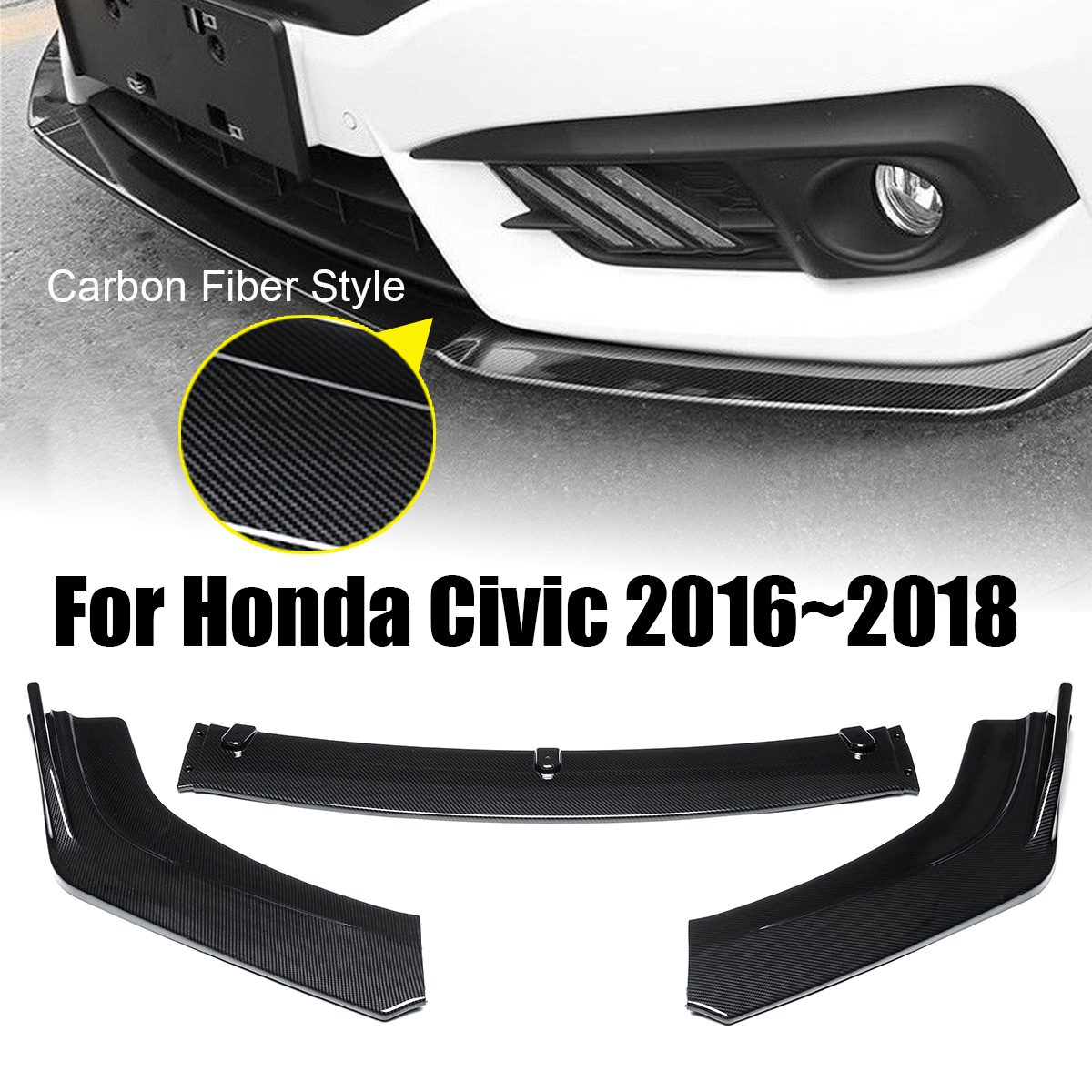 3PCs ABS Carbon Fiber Style Front Bumper Cover Lip Front Spoiler For Honda For Civic 2016~2018 Splitters Air Vent Cover Trim 3pcs carbon fiber style car front bumper front lip cover trim fit for honda accord 2018 car exterior accessories styling