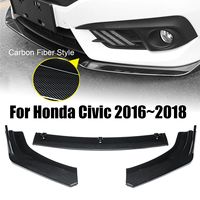 3PCs ABS Carbon Fiber Style Front Bumper Cover Lip Front Spoiler For Honda For Civic 2016~2018 Splitters Air Vent Cover Trim