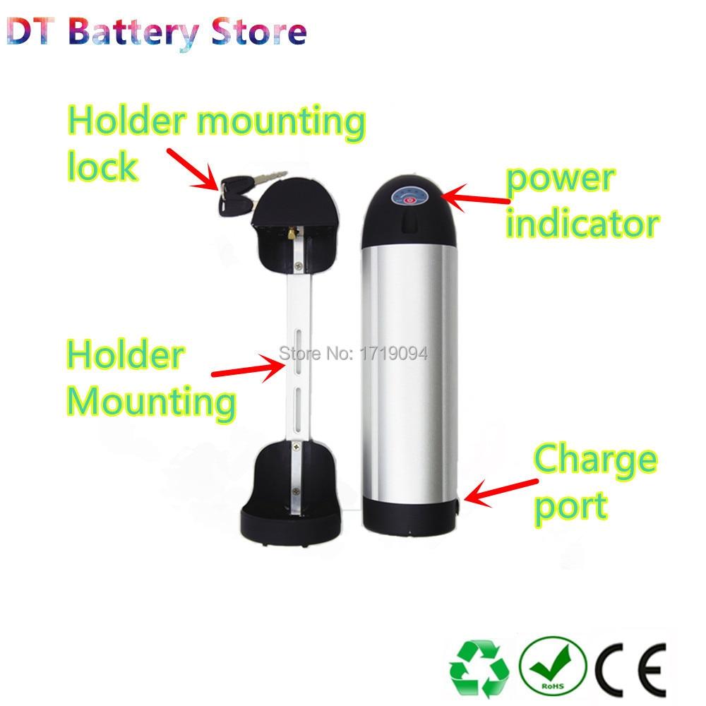 Livraison gratuite bouteille dolphin ebike batterie li-ion 24 v 36 v 48 v 52 v 10ah 12ah 13ah 14ah 15ah 16ah 17ah 19.2ah 20ah 21ah