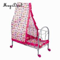 Simulation Baby Toddler Crib Bed with Tents Wheels ABS Plastic Furniture for 9 20inch Reborn Doll Supplies