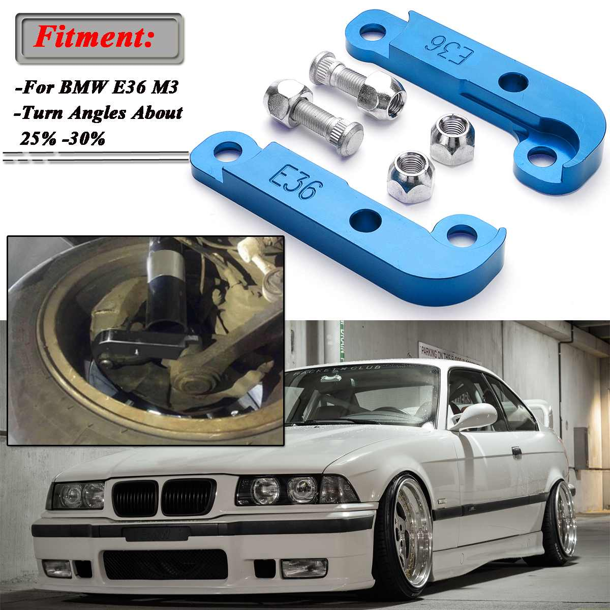 2x Blue Adapter Increasing Turn Angles About 25%-30% Drift Lock Kit For BMW E36 M3 Tuning Drift Power Adapters & Mounting
