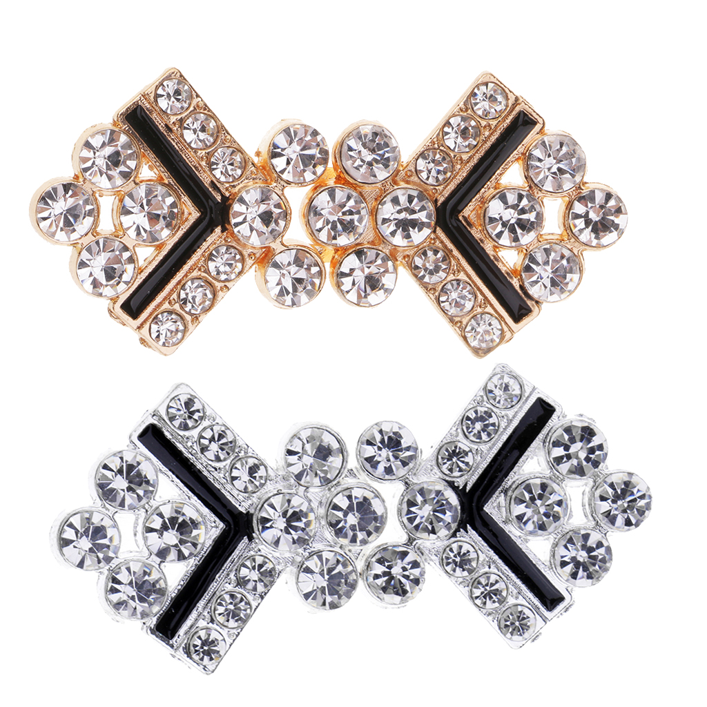 22297919ef fityle 1 Pair Rhinestone Crystal Sewing Buttons Buckle Sew on Garment Bags  50 x 24mm