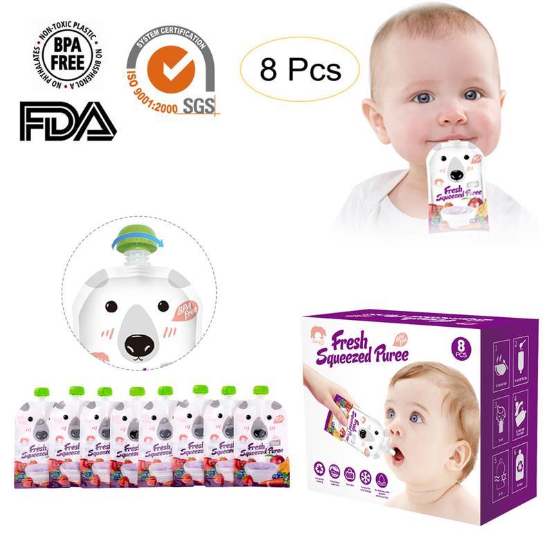 8pcs/set Cartoon Reusable Sealed Baby Food Pouch Storage Bag 200ml Breast Milk Bag Double Zipper Feeding Bags BPA-Free