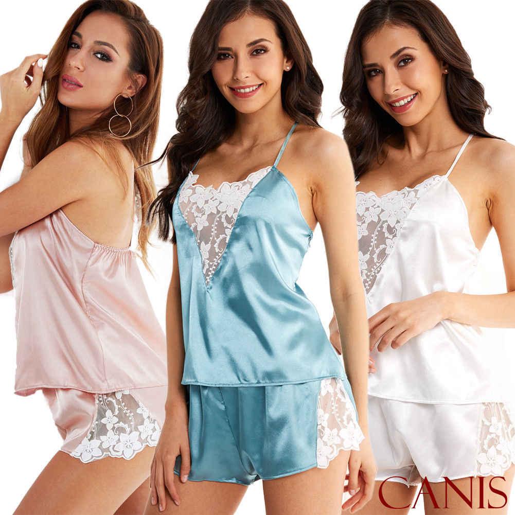c8193d1986 Detail Feedback Questions about 2PCS Fashion Women Sexy Satin Lace  Sleepwear Babydoll Lingerie Nightdress Pajamas Set on Aliexpress.com