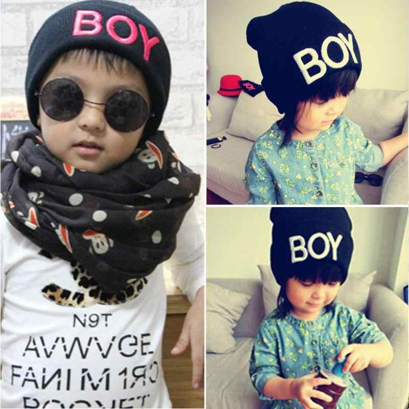 Зимние вязаные шапки с буквенным принтом для маленьких мальчиков, Детская шерстяная шапочка, теплая детская шапочка, шапка с черепом, аксессуары, шапки gorro bebe