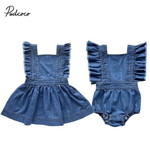 Denim irmão combinando irmã vestido da menina do bebê macacão recém-nascido plissado outfits para crianças roupas criança do miúdo roupas