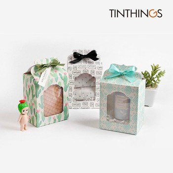 100 PCS Gift Paper Box With Window Ribbon Wedding Party Kids Birthday Toy Paper Box Towel Underwear Jar Gift Paper Packaging