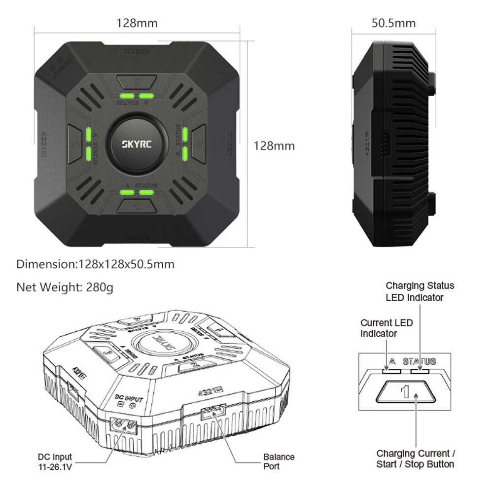 SKYRC E4Q 4-Порты и разъёмы XT60 мульти Баланс DC Зарядное устройство Dis Зарядное устройство для 2-4 S LiPo Радиоуправляемый Дрон Батарея зарядный ток никель-металл-2A 3A 5A регулируемый