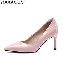цена Women Pointed Toe High Heels Womans Genuine Leather Pumps Spring New Ladies Thin Heel White Black Red Party Shoes YOUGOLUN A102 онлайн в 2017 году