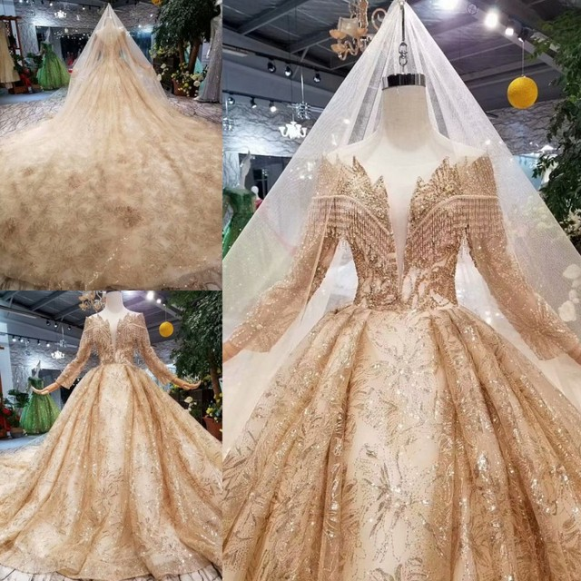 Женское свадебное платье SSYFashion, роскошное золотистое платье с длинными рукавами и вышивкой из блесток, блестящее платье для выпускного вечера