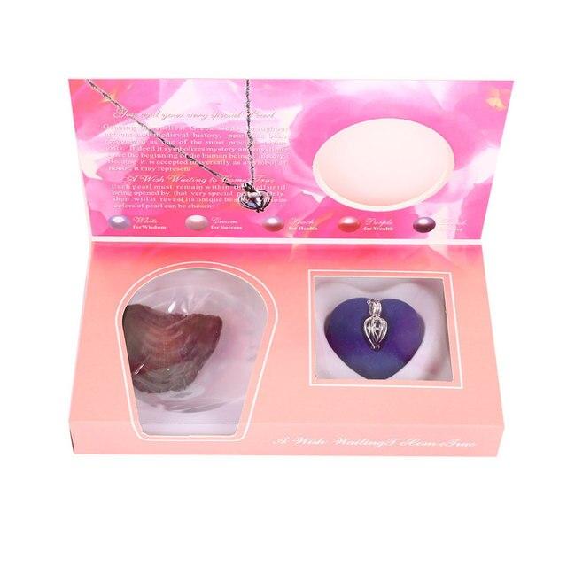 Naturale Oyster Perla di Desiderio Della Collana Del Pendente Collana di Fascino del Regalo Box Popolare di Modo Delle Donne Dei Monili del Regalo 2