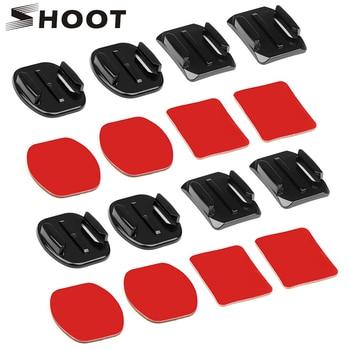 SHOOT Flat Curved Base Mount and Adhesive Stickers Mount for GoPro Hero 8 7 5 Xiaomi Yi 4K Sjcam Sj4000 Go Pro Hero 7 Accessory 4k lens 12mm 1 1 8 inch 34d m12 hfov 10mp lens for gopro hero 4 3 gitup 2 action camera sjcam sj4000 xiaomi yi 4k sport dv lens