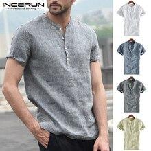 Модные Для мужчин брендовая рубашка короткий рукав на пуговицах, со стоячим воротником дышащая рубашка, топы Для мужчин Повседневное основные рубашки уличная INCERUN