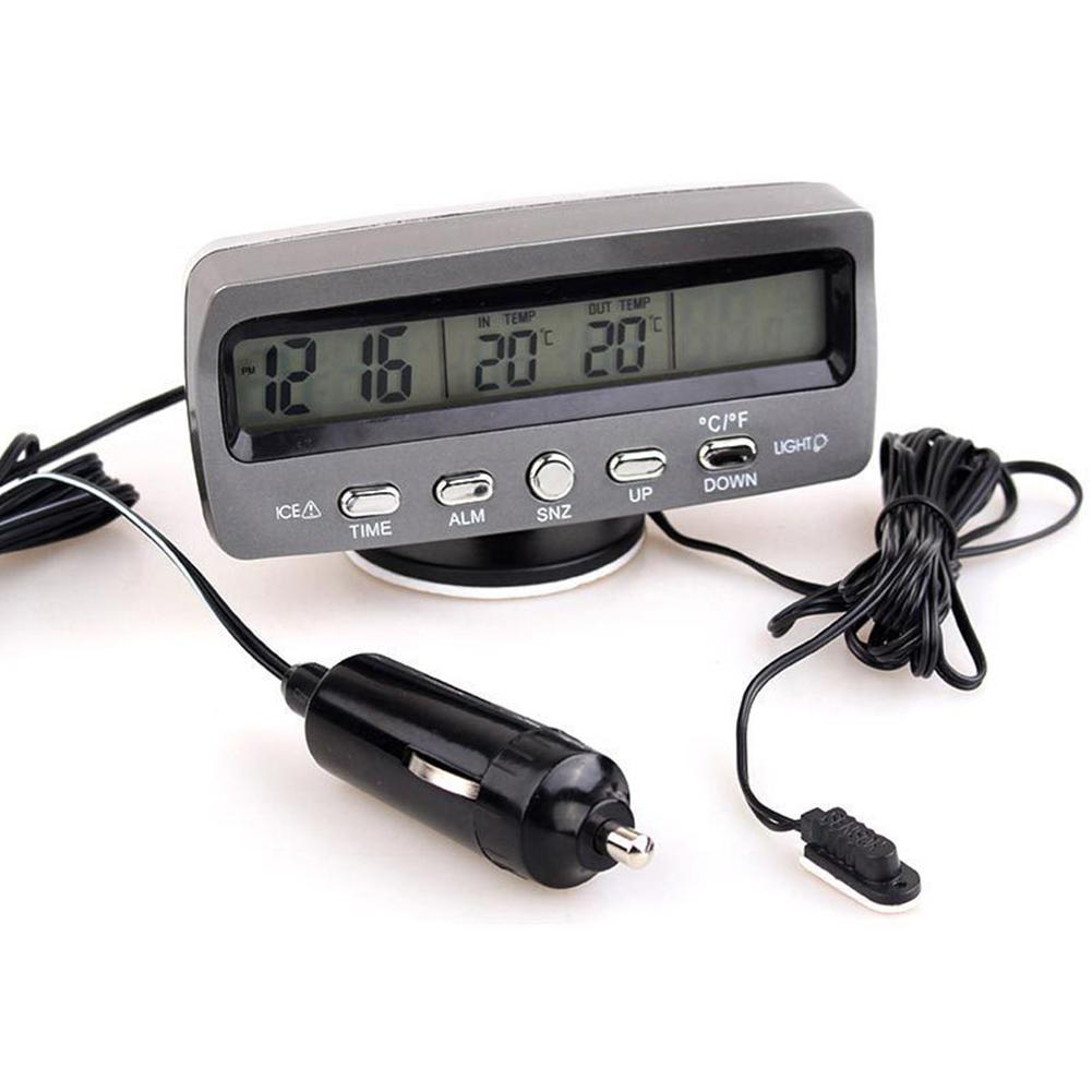 3-in-1 Multifunctional Car Clock Indoor Outdoor Thermometer Voltmeter Vehicle ABS Material Clock With LCD Display LED Backlit
