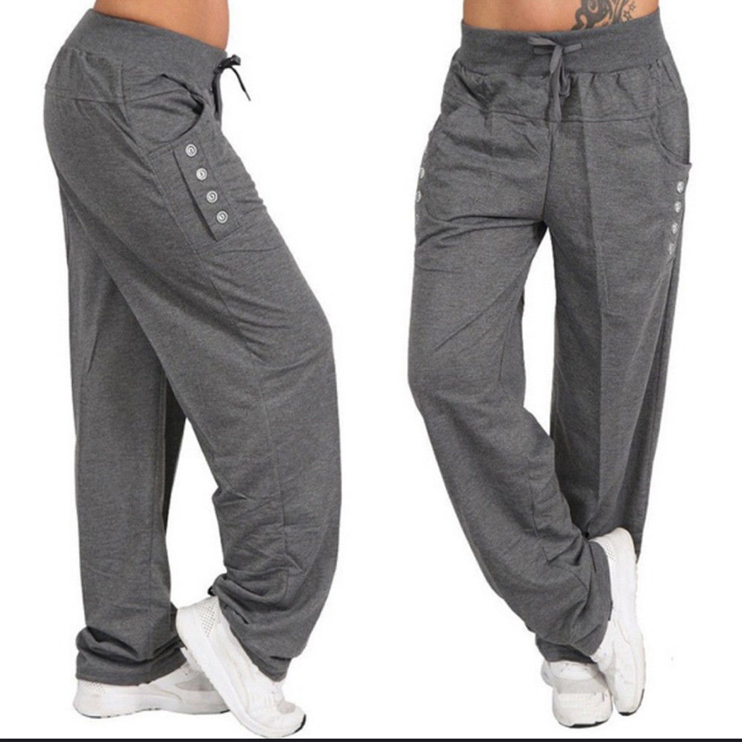 sold worldwide new find lowest price US $10.53 35% OFF Women Casual Loose Fitness Sweatpants Baggy Wide Leg  Pants Ladies Drawstring Button Harem Pants Solid Color Trousers Plus  Size-in ...