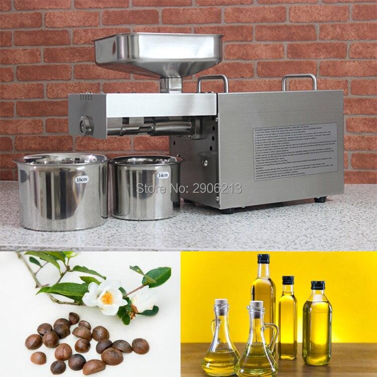 En acier inoxydable automatique machine de l'huile pressée à froid, graines de camélia extracteur d'huile, huile froide machine de presse, presse à huile