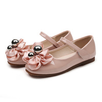 white flower flats for children New shoes for flowers girl sweet bow pearl princess shoes round head low heel shoes