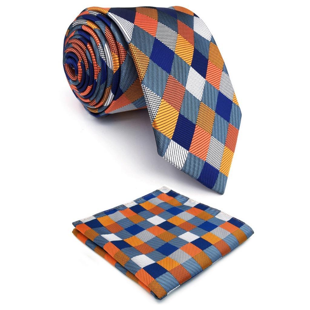 Mens Wedding Party Gifts: Multicolor Checkes Mens Neckties Set Wedding Fashion