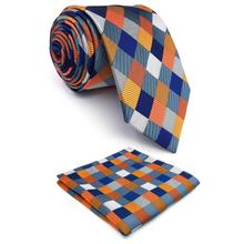 Multicolor Checkes Mens Neckties Set Wedding Fashion Pocket Square Gift Extra long size Party