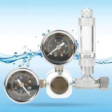 Аквариум CO2 регулятор с обратный клапан для W21.8 G5/8 разъем большой двойной Калибр Дисплей с Счетчик пузырьков
