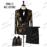 2019 Elegant Black Velvet Gold Flower Double Breasted Groom Tuxedo For Men Wedding/Prom Suits Mens Suits With Pants Bridegroom