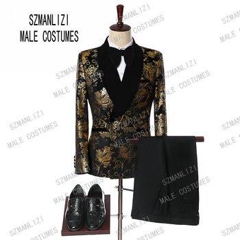 2019 elegante negro de terciopelo de oro de la flor doble Breasted esmoquin  para los hombres de la boda baile trajes con pantalones novio 3a4b2355136