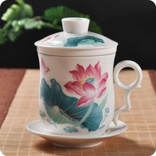China Jingdezhen Ceramic Blue And White Porcelain Tea Cup With Lid Make Personal Filter Bubble Of Office