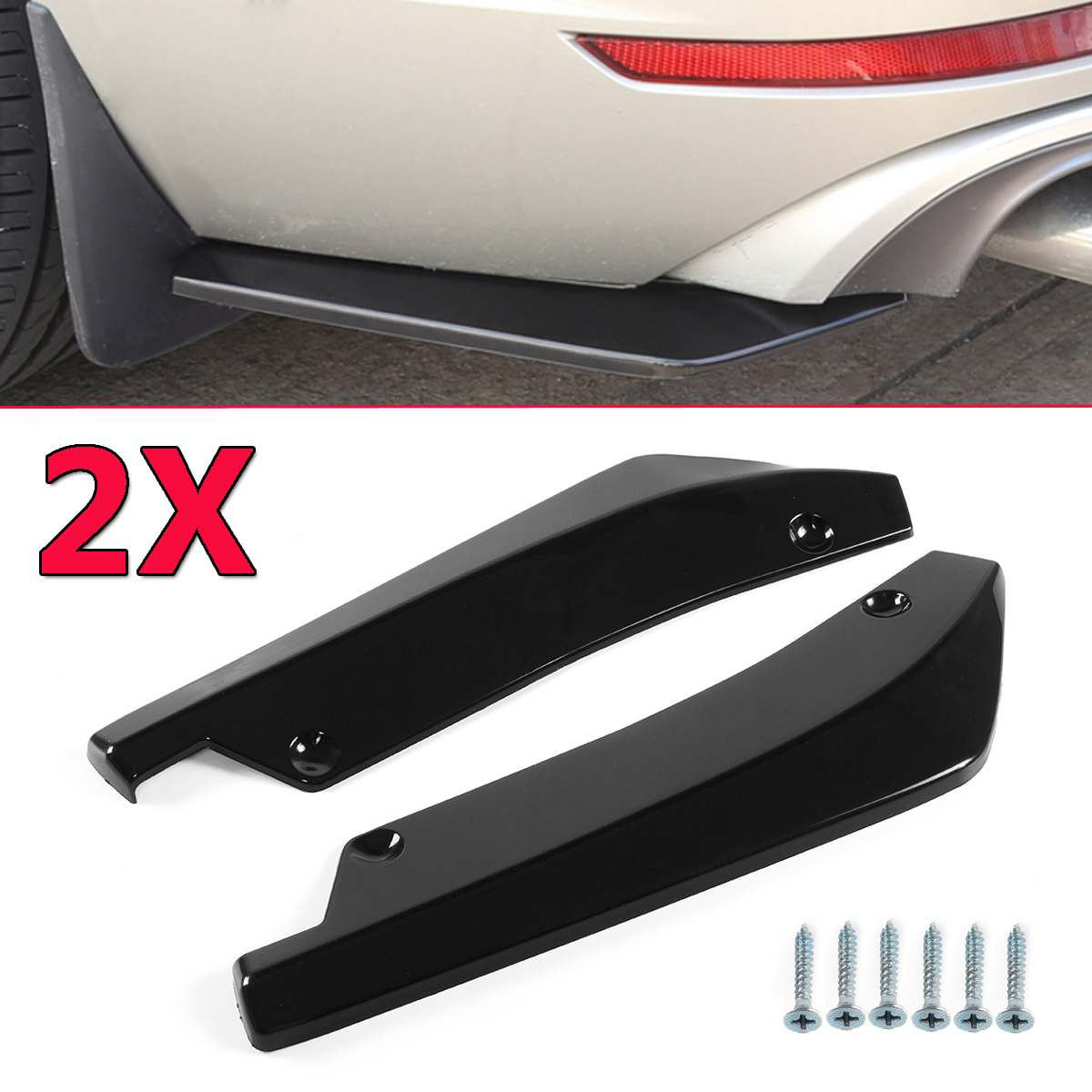 2PCS אוניברסלי סיבי פחמן מראה/שחור רכב אחורי פגוש שפתיים מפזר ספליטר Canard ספוילר מגן לנץ עבור BMW עבור פורד