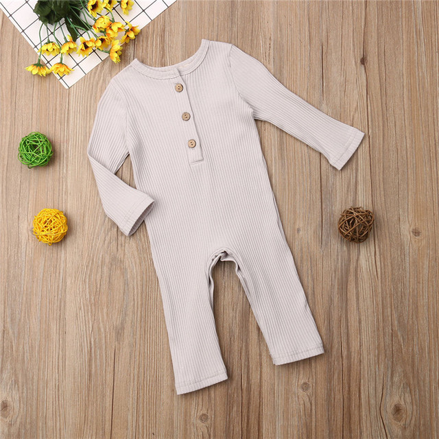 Newborn Full Sleeve Romper Solid Long Pant Jumpsuits Spring Outwear Cotton Outfits Baby girl Boy Clothes 3
