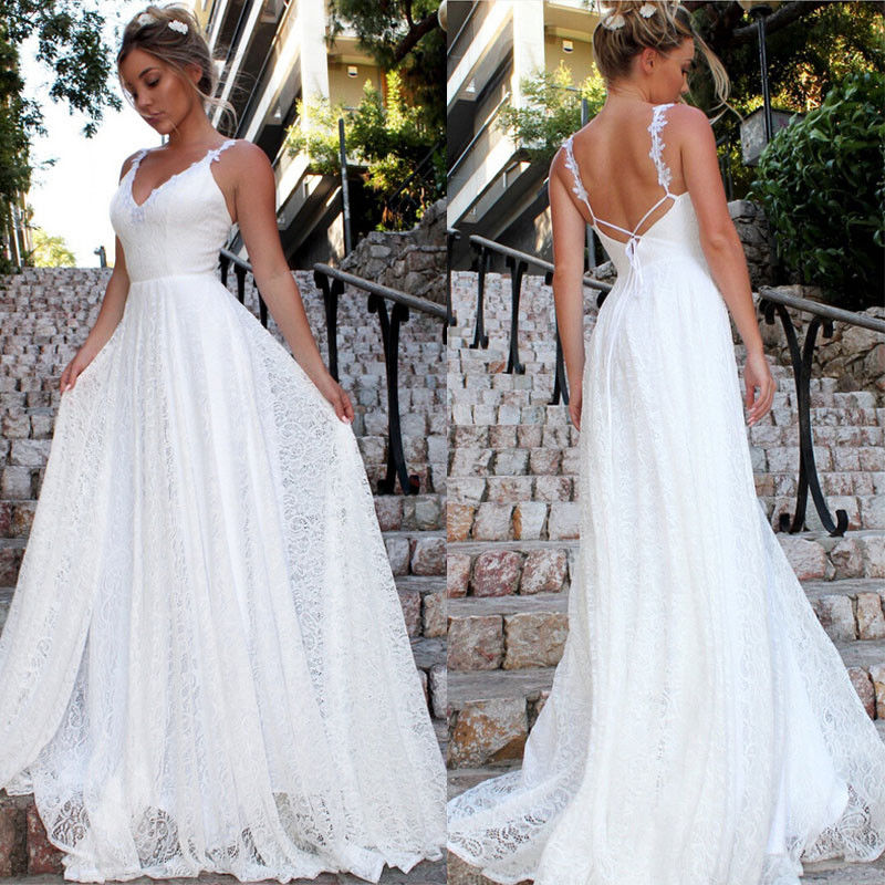 Ladies Elegant Formal Wedding Evening Party Ball Prom Long Dress for Bride Bridesmaid Womens Sleeveless White Lace Bodycon Maxi Dress