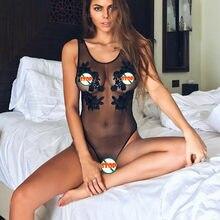 Lingerie sensual pornô transparente, roupa de dormir feminina sensual renda floral