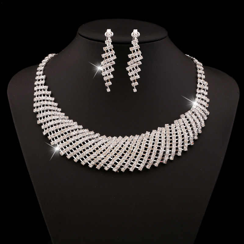 Shining Mosaic Full Rhinestone Choker Silver Plated Necklace Earrings Set Wedding Bridal Jewellery Sets for Women Bijoux