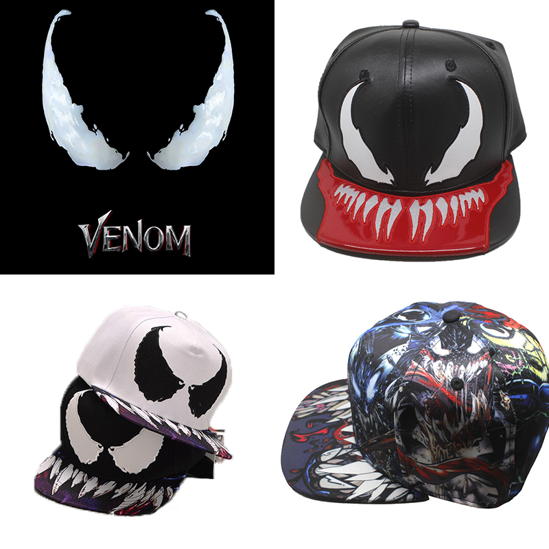 Spiderman Venom Baseball Cap Cospaly Costume Hat PU leather  Hip-hop Hats Adjustable Women Men Halloween Gifts