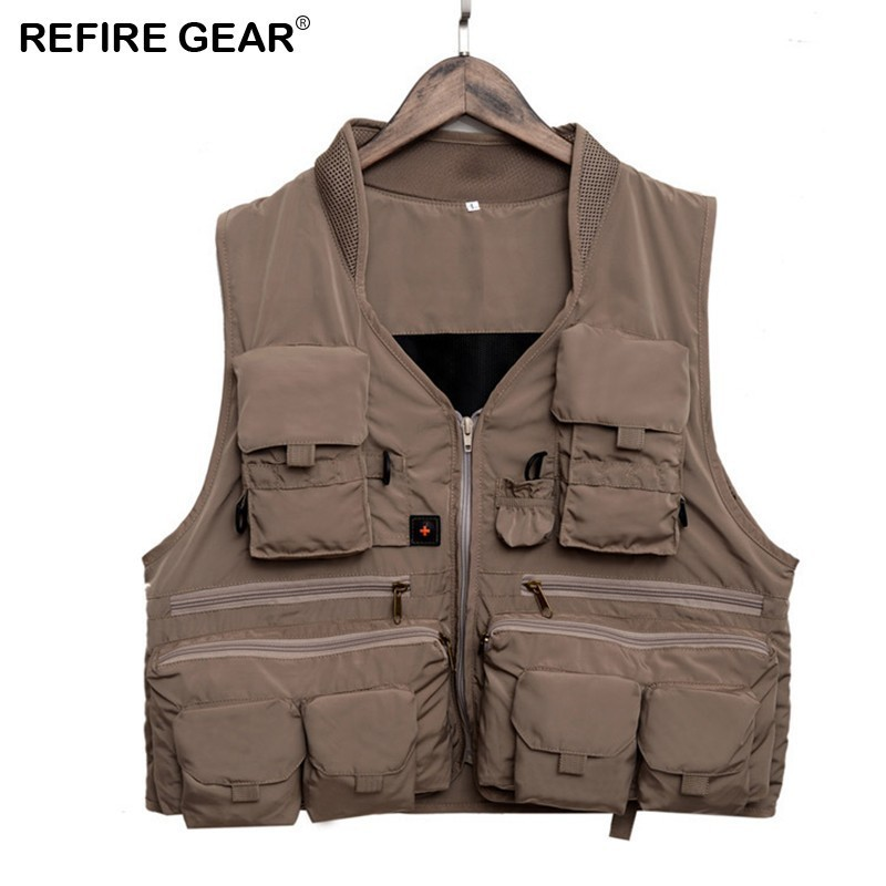 Refire Gear Outdoor Vest Quick Dry Fishing Hiking Camping Vest Breathable Polyester Fiber Material Multi-pocket Camping Vest