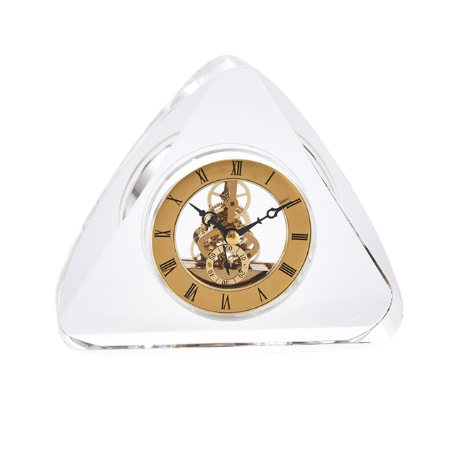 Adorning Clock In Crystal Triangle Base, Gold And Clear