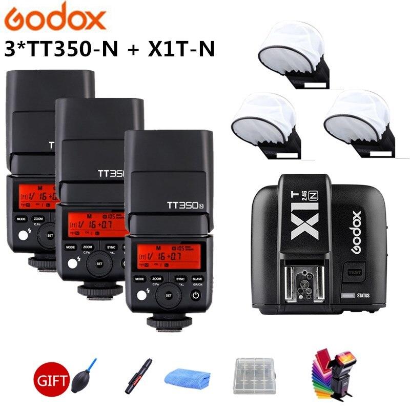 Godox TT350 TT350N 2.4G HSS 1/8000s I-TTL GN36 Camera Flash Speedlite + X1T-N Trigger Transmitter For Nikon SLR Digital Camera