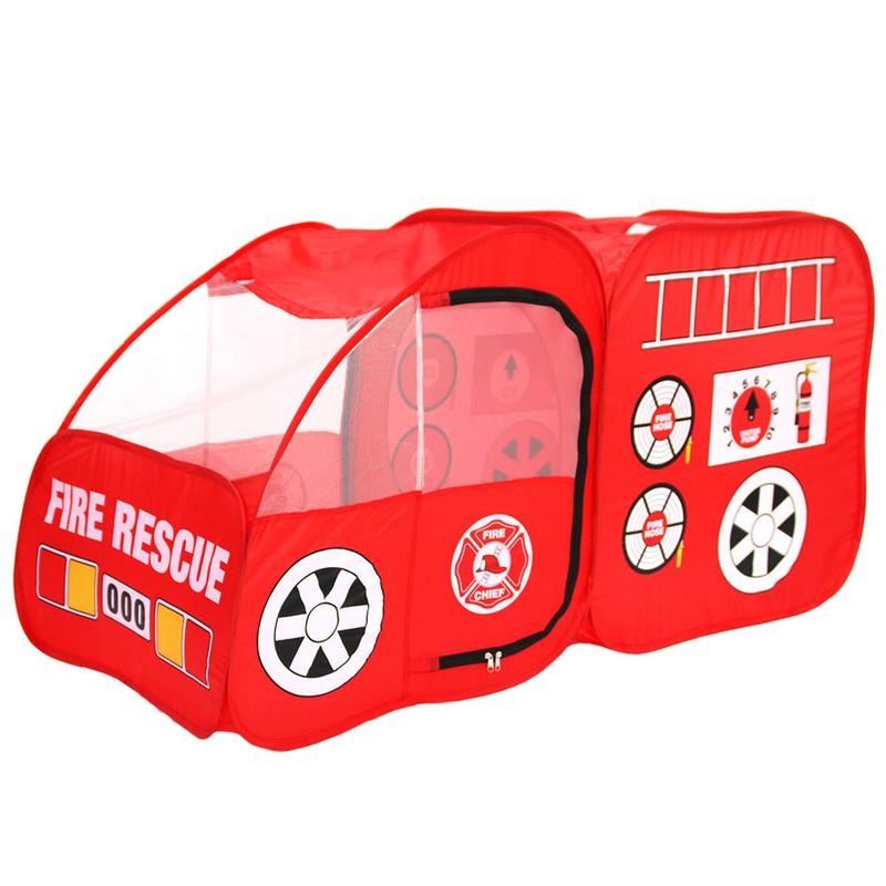 Fire Engine Design Folding Portable Playpen Tent Play Yard Red Metal Frame Indoor Outdoor Game House Brand New Baby Play Yard image