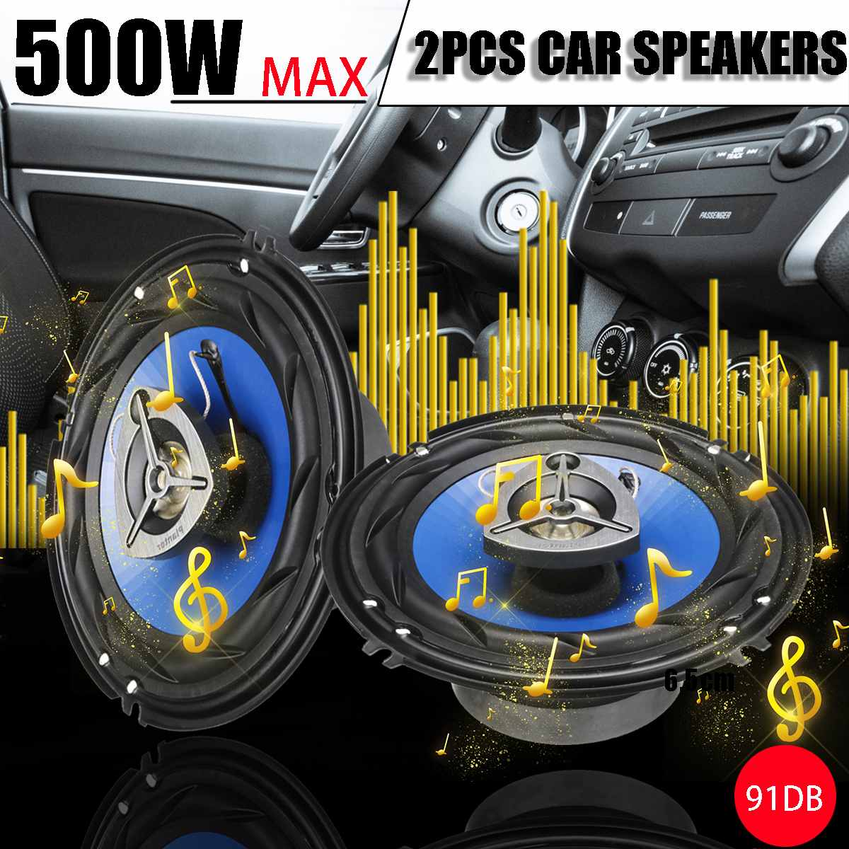 2pcs Car Speakers 6.5inch 500W Car Subwoofer 91DB Coaxial Speaker Car Rear /Front Door Vehicle Stereo Loudspeaker Music Player