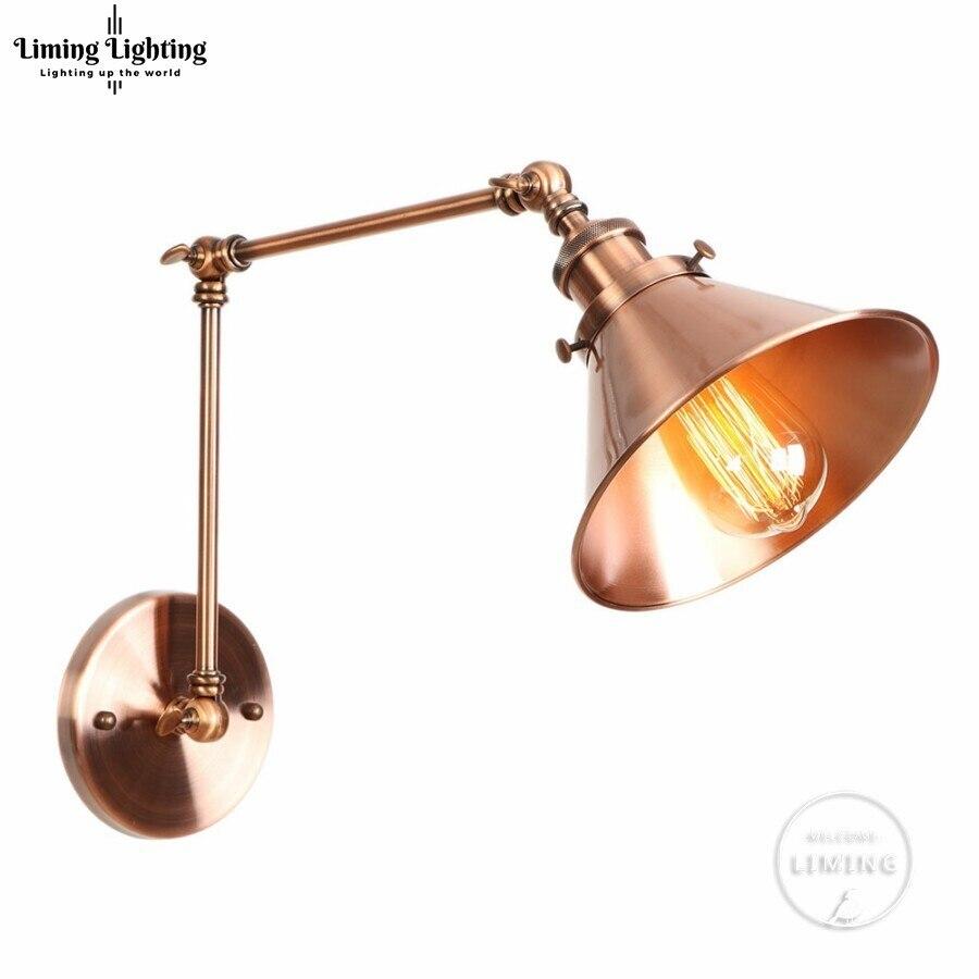 Amerikaanse Loft Wandlamp Wandlampen Schans Lange Swing Arm Verstelbare Retro Loft Metalen Led Home Verlichting Voor Slaapkamer/ Restaurant